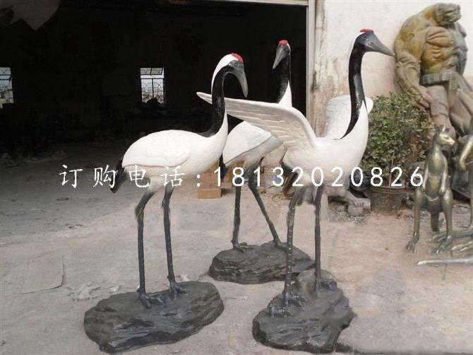 仿真丹顶鹤雕塑玻璃钢