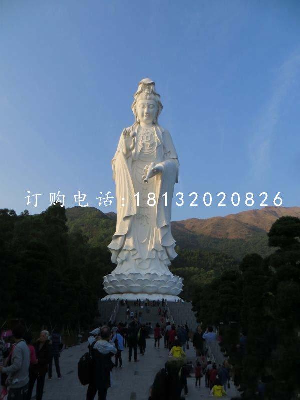 汉白玉大型立式观音寺庙