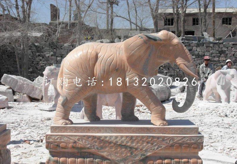 晚霞红大象石雕 门口石雕大象