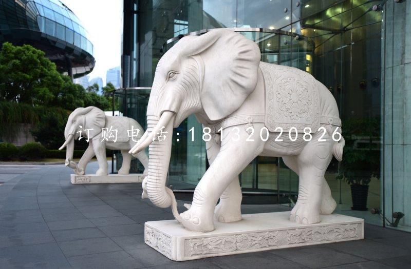 石雕如意大象汉白玉门口