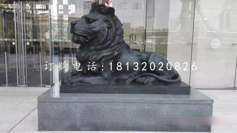 汇丰狮铜雕 趴着西洋狮铜雕