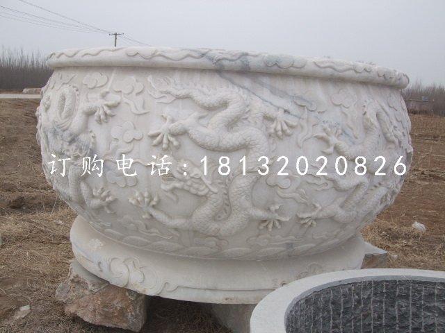 龙浮雕水缸圆形石水缸