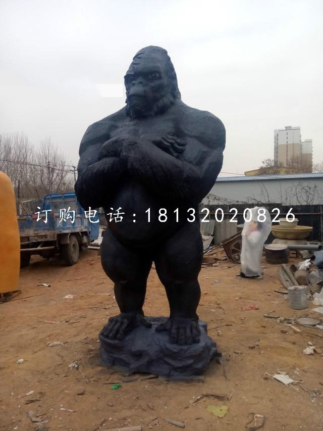 站立的大猩猩雕塑,玻璃钢动物