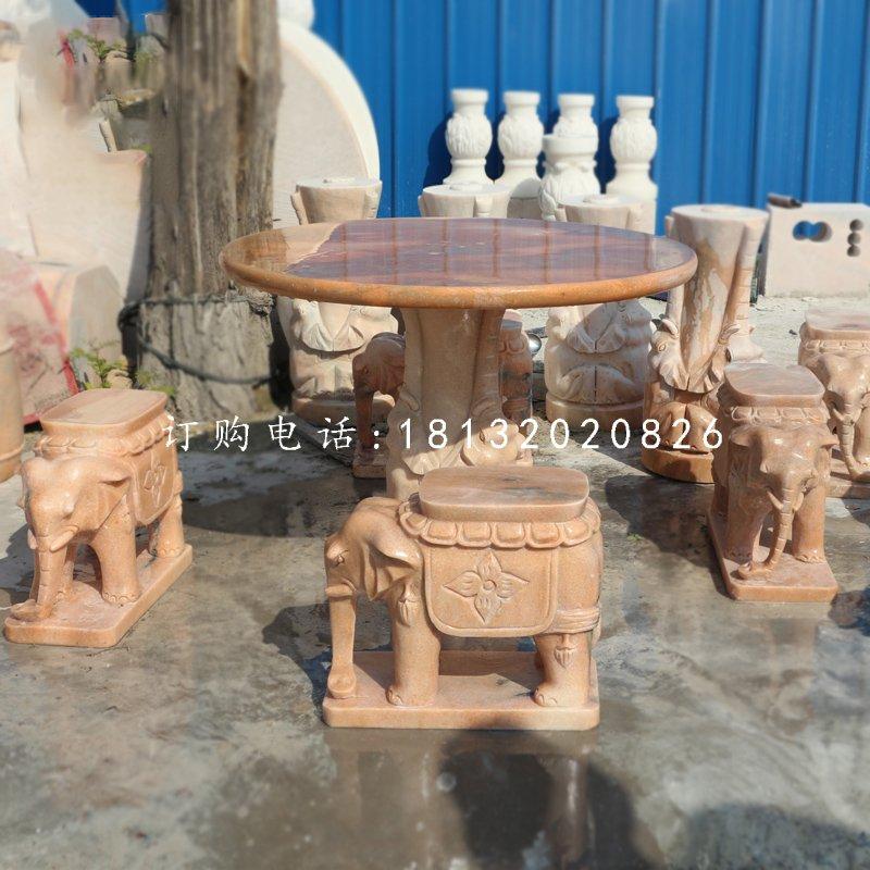 晚霞红桌椅,象桌象凳石雕