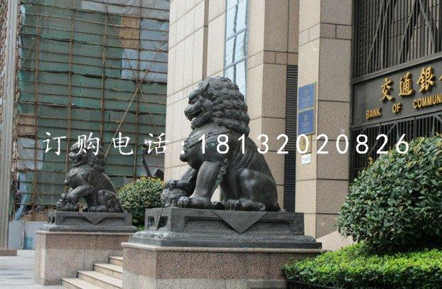 北京狮铜雕银行门口狮子