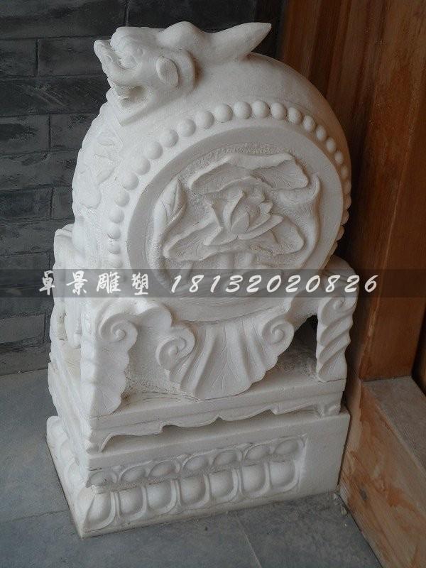 抱鼓石雕塑汉白玉门墩石