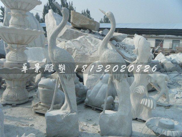 大理石仙鹤雕塑公园动物