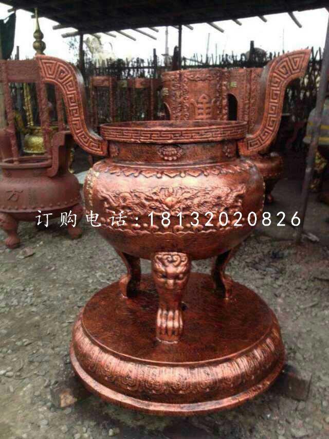 香炉铜雕 寺庙三足圆香炉