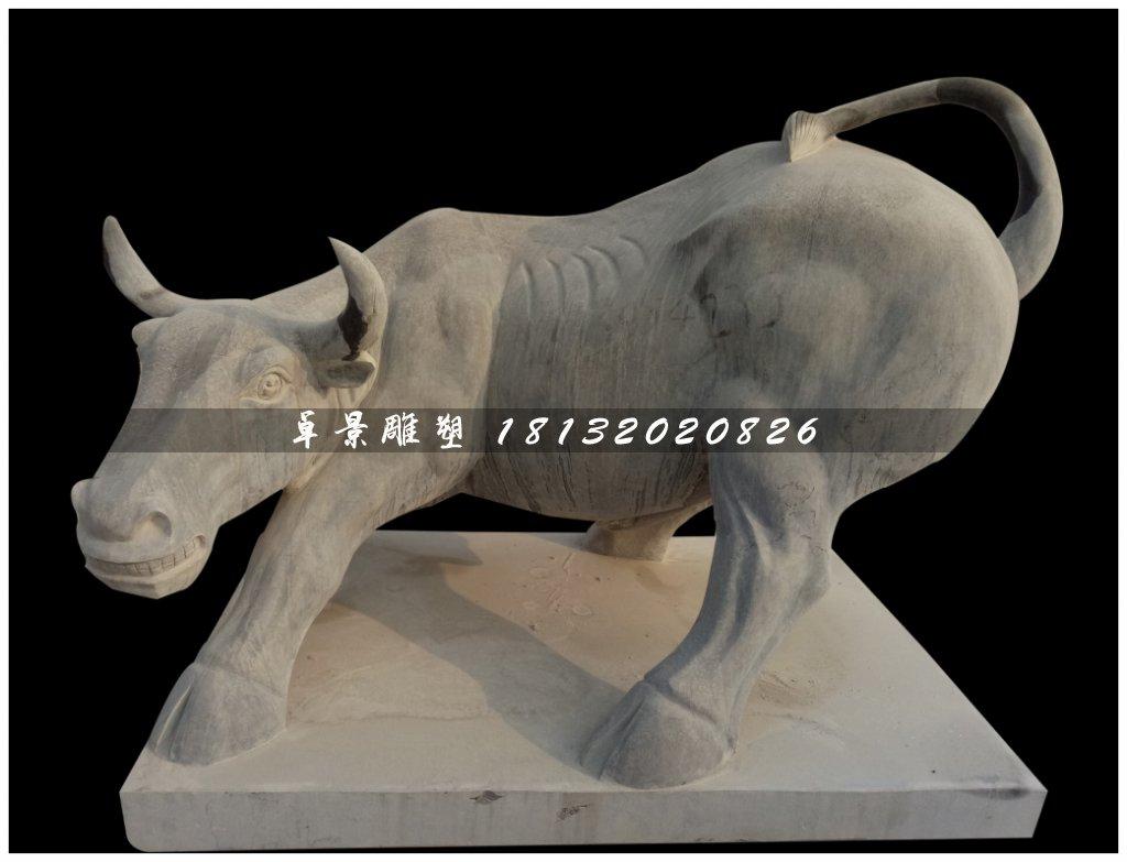 华尔街牛石雕,青石牛雕塑