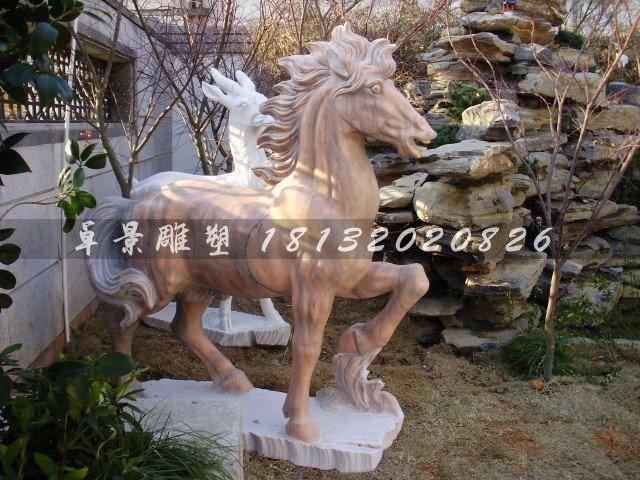 公园小马雕塑晚霞红石雕