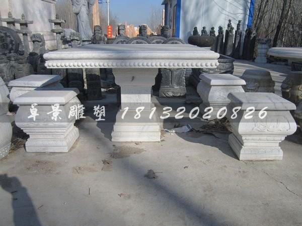 方桌方凳雕塑草白玉桌凳石雕