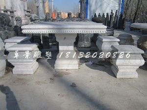 方桌方凳雕塑草白玉桌凳