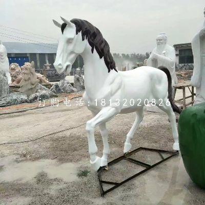 玻璃钢白马雕塑,动物雕