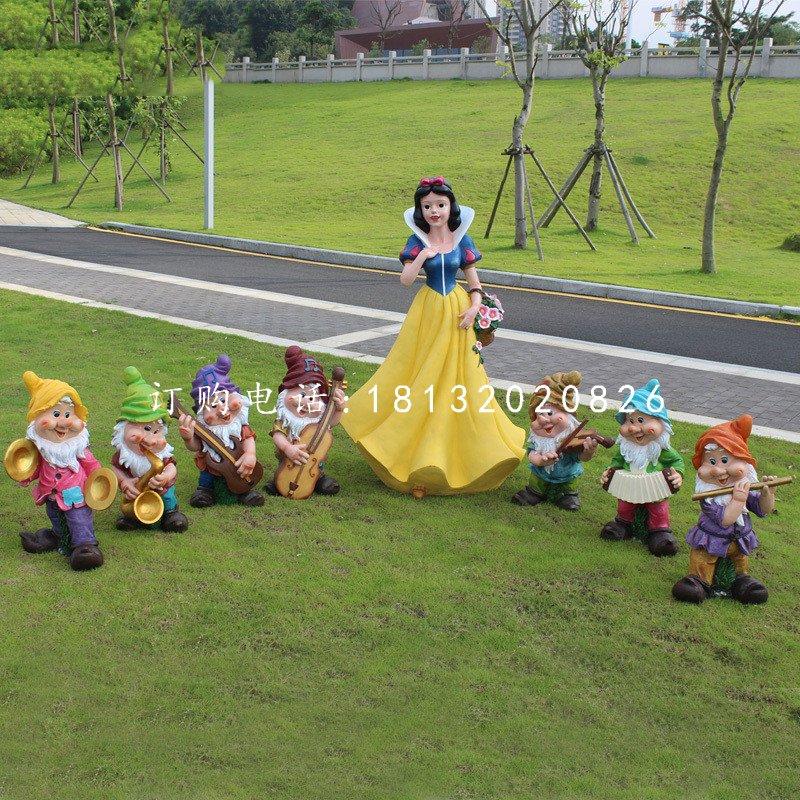 白雪公主与小矮人雕塑,卡通人物摆件