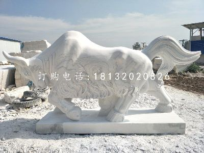 大理石牛雕塑,公园动物石
