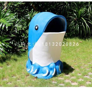 海豚造型垃圾桶雕塑,玻璃钢卡通垃圾桶