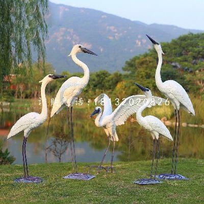 白鹭雕塑,公园玻璃钢仿真动物