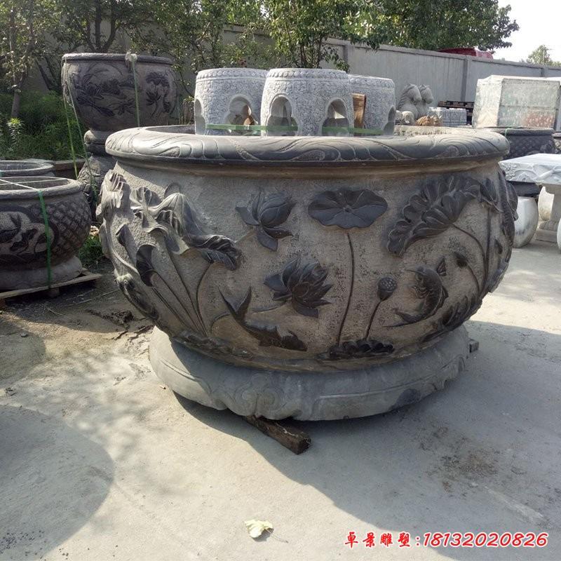 仿古石水缸庭院景觀石雕 (3)