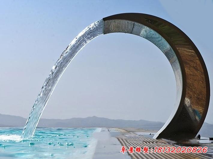 不銹鋼抽象半圓噴泉海邊景觀不銹鋼雕塑