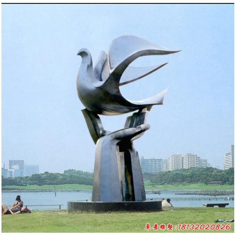 手托和平鴿雕塑 公園不銹鋼雕塑