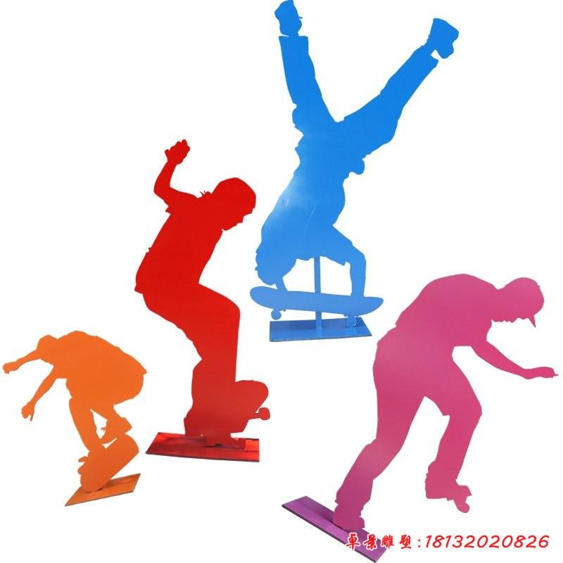 玻璃鋼玩滑板運動人物 公園人物雕塑[1][1]