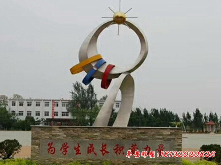 不銹鋼校園成長的力量雕塑