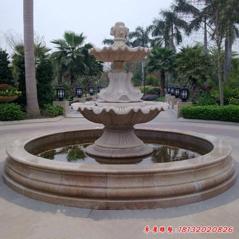 石雕雙層馬頭浮雕歐式噴泉