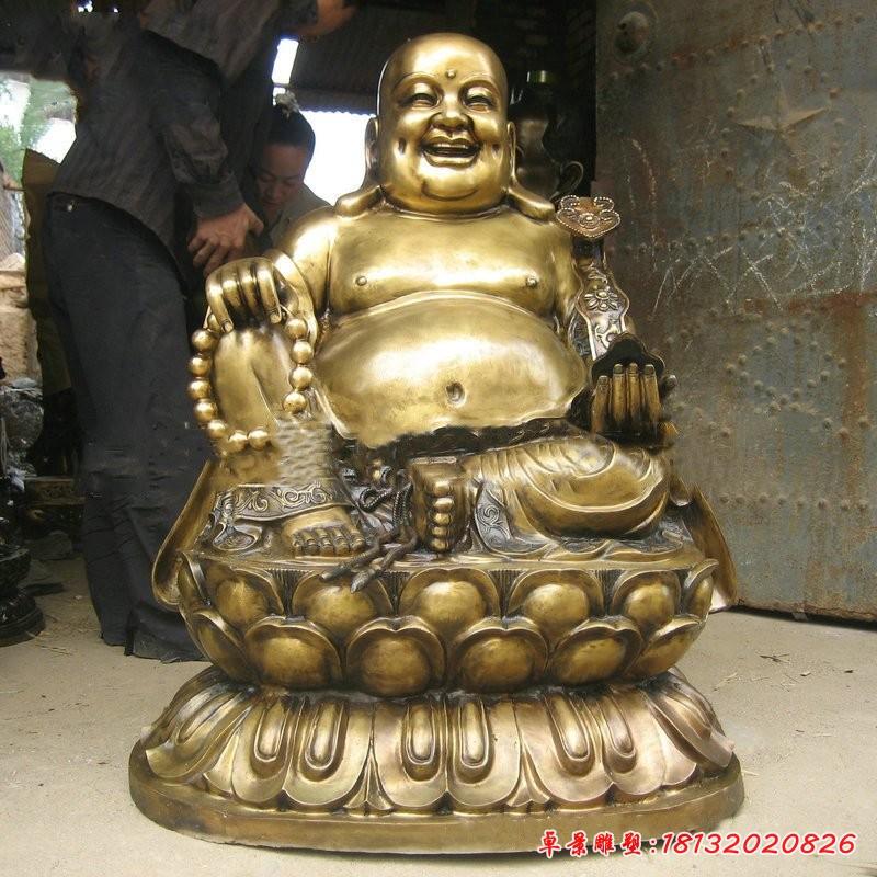 銅雕坐式如意彌勒佛雕像