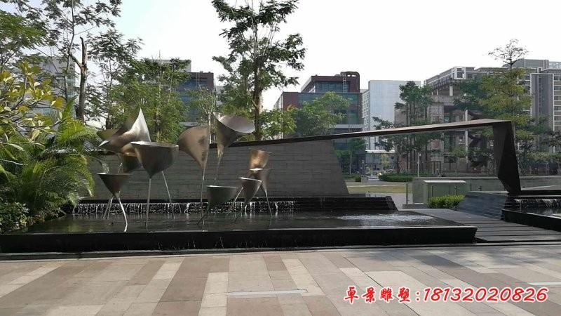不銹鋼抽象喇叭花噴泉雕塑