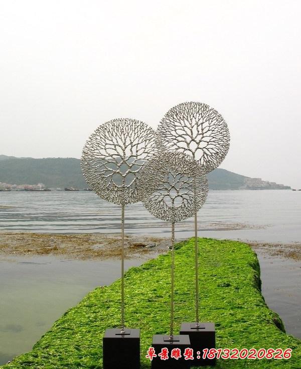 不銹鋼公園蒲公英雕塑