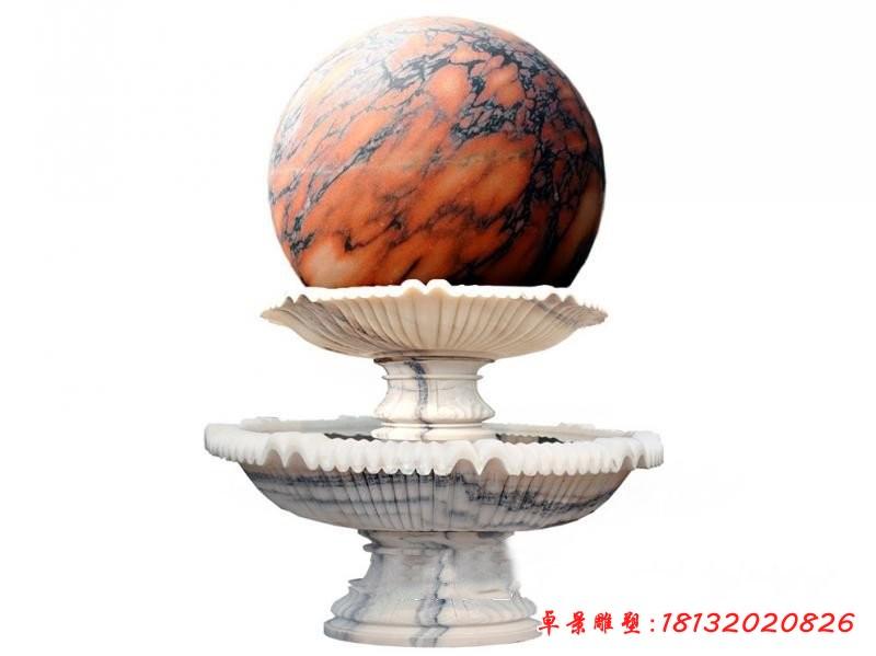 石雕雙層草白玉風水球噴泉