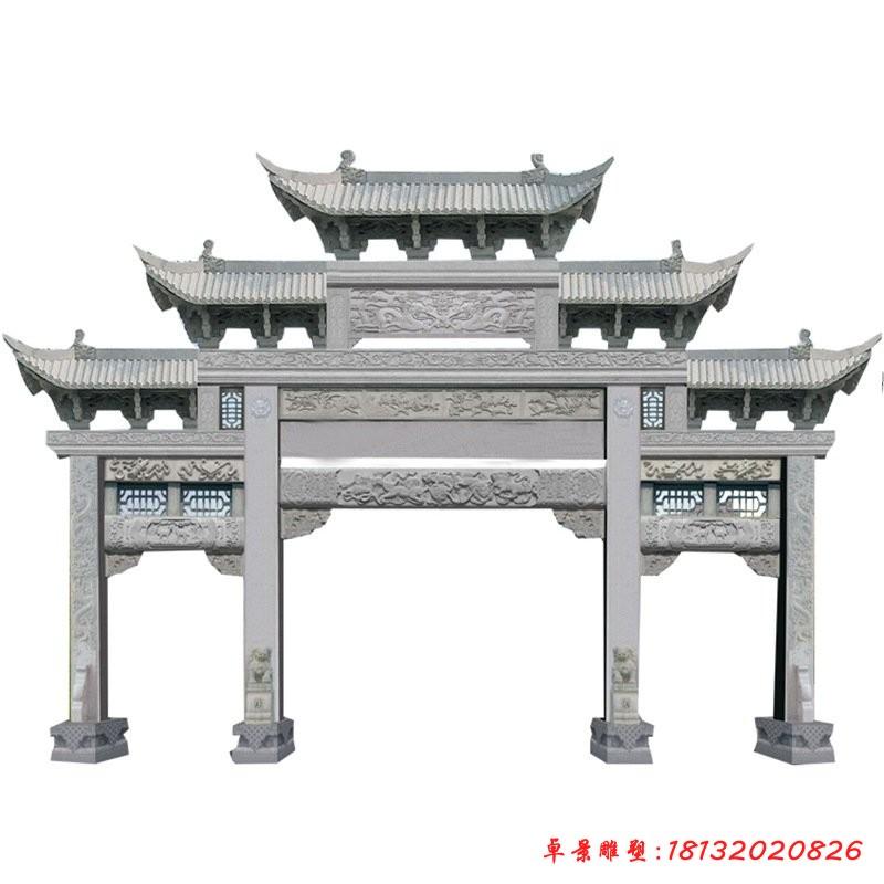 公園景區大理石三門牌坊雕塑