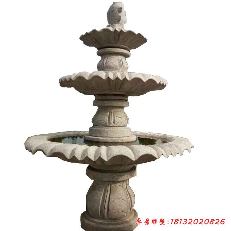 公園三層跌水盆噴泉石雕