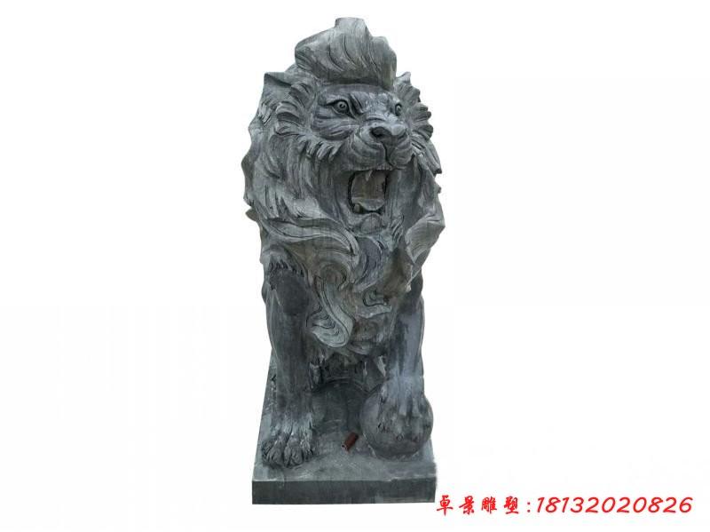大理石歐式踩球獅子雕塑