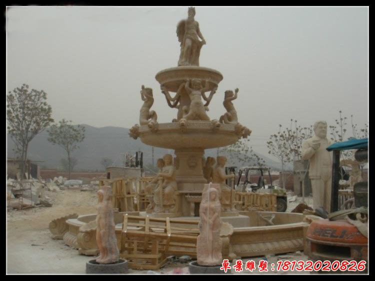 歐式人物三層噴泉石雕