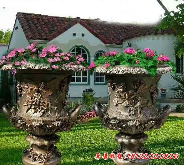 銅雕歐式花缽