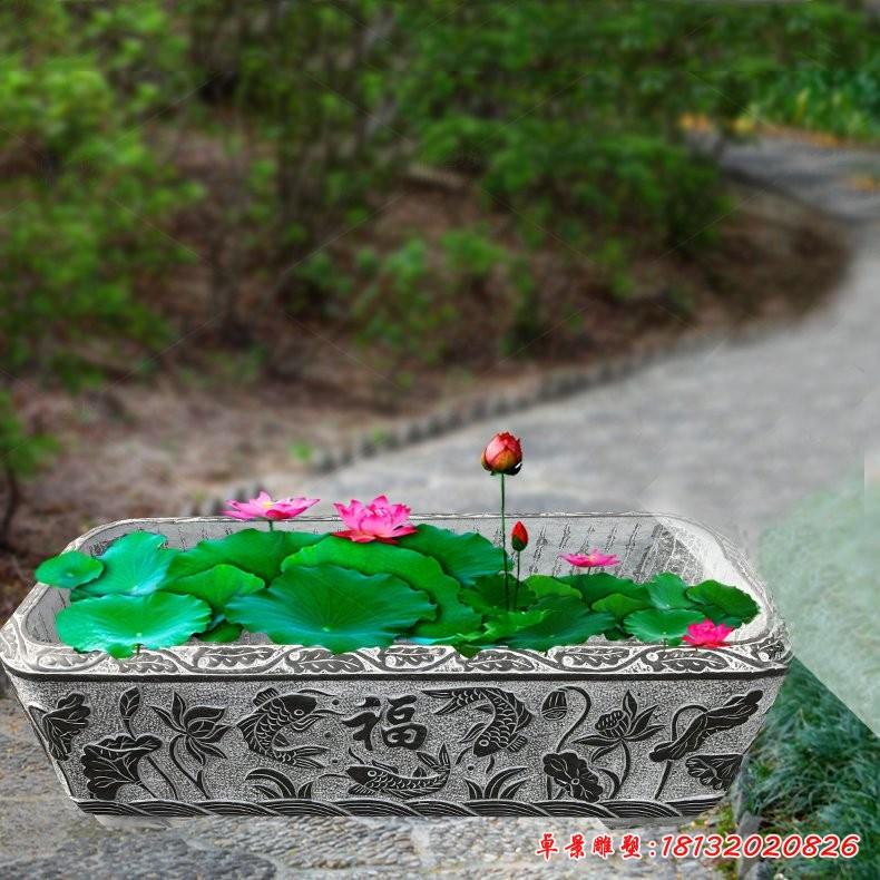 公園小區方形石雕荷花缸
