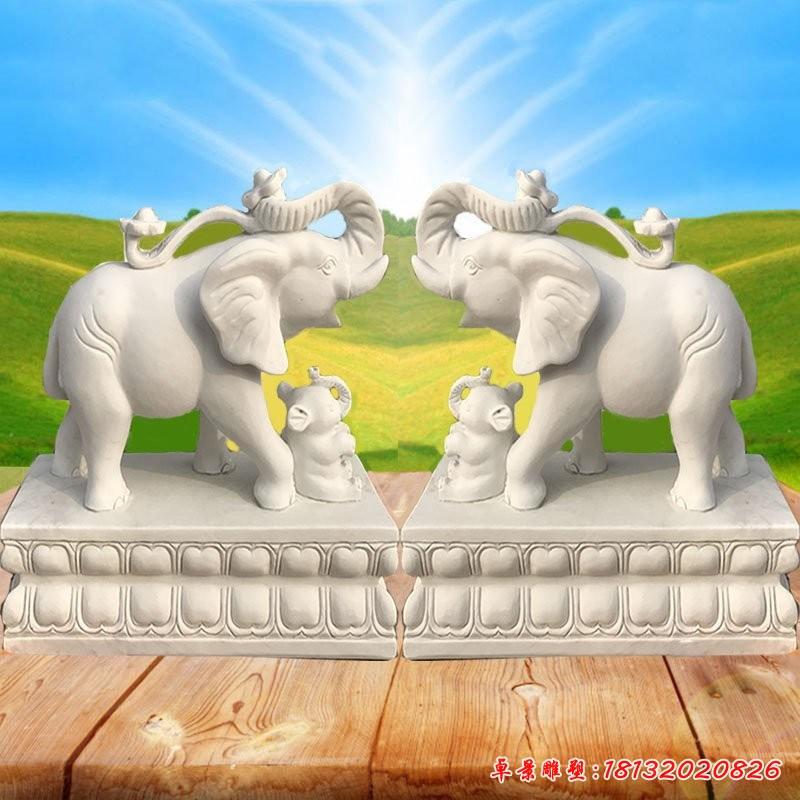 門口招財進寶大象石雕