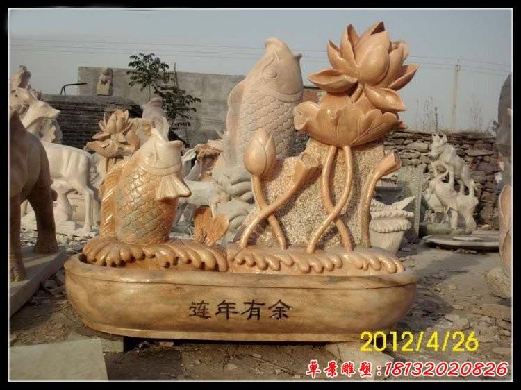 晚霞紅蓮花鯉魚石雕