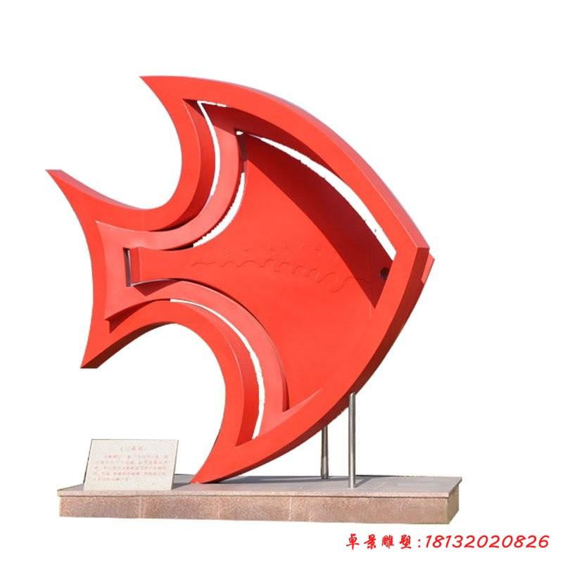 不銹鋼動物抽象魚雕塑