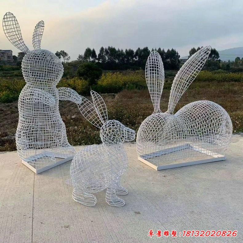 公園不銹鋼鏤空編織兔子雕塑