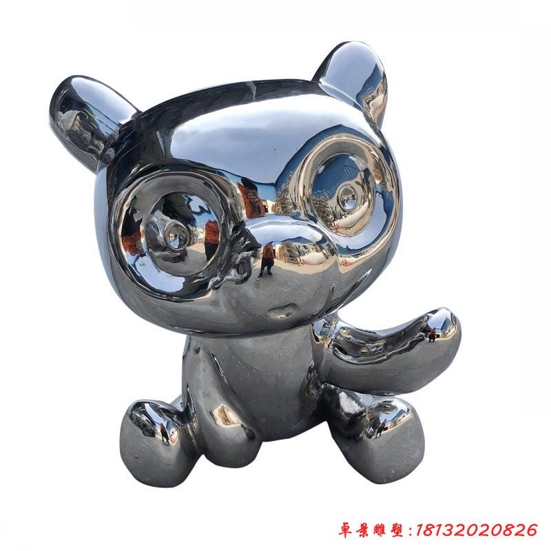 不銹鋼卡通熊貓動物雕塑