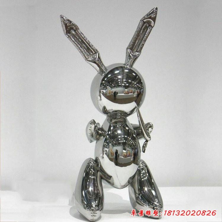 不銹鋼鏡面卡通兔子雕塑