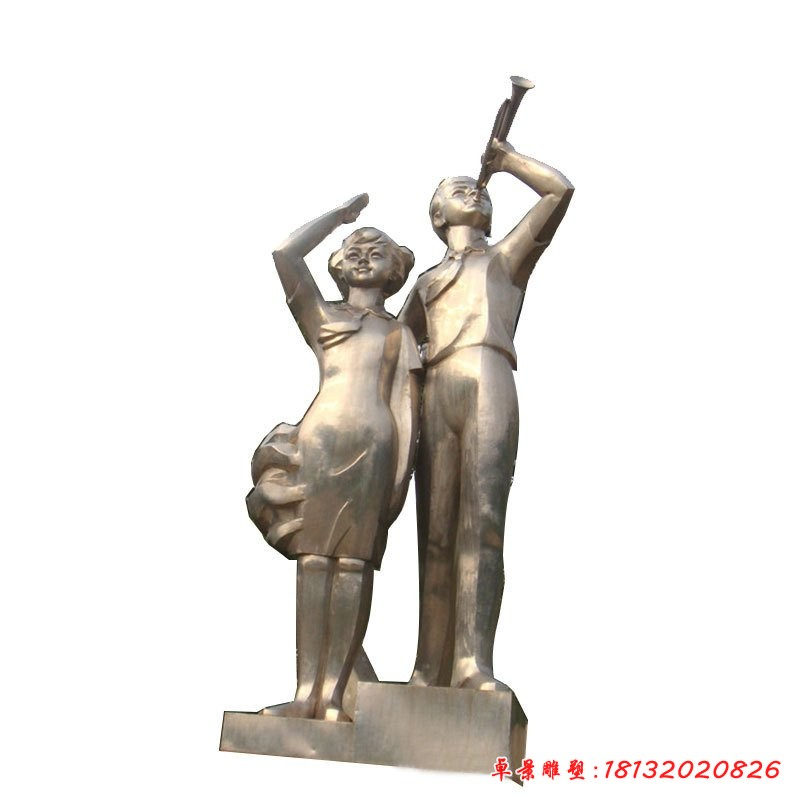 不銹鋼校園學生雕塑