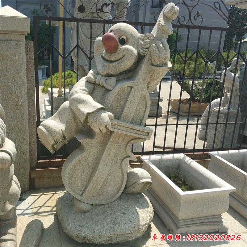 石雕拉大提琴的卡通動物