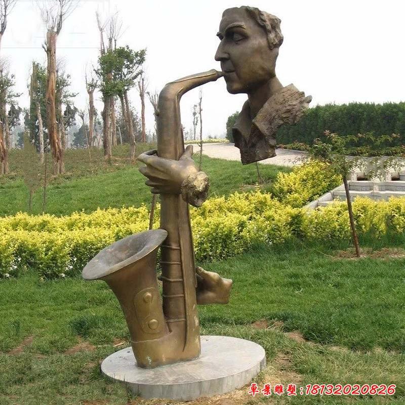 銅雕抽象吹薩克斯人物