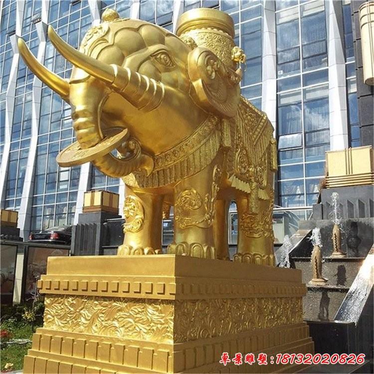 企業門口銅雕大象