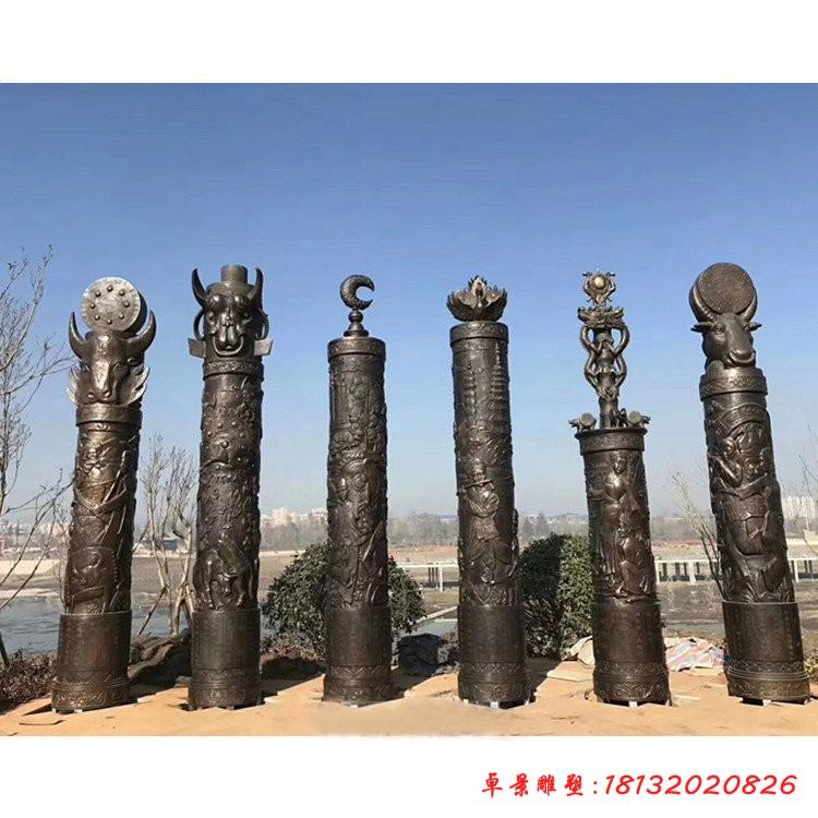 銅雕文化柱