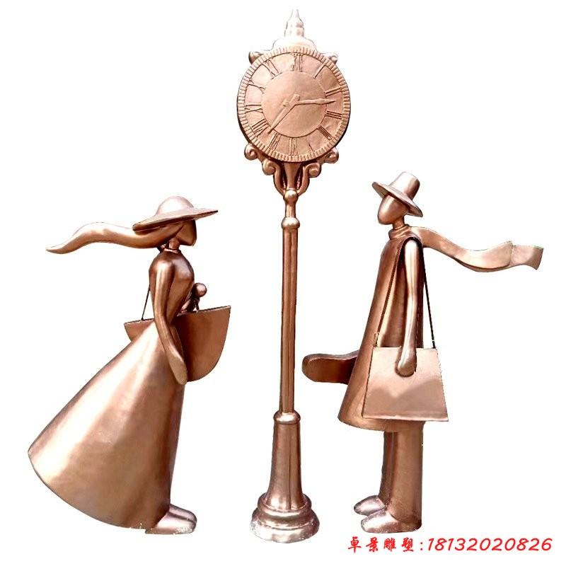 銅雕情侶幸福一站雕塑