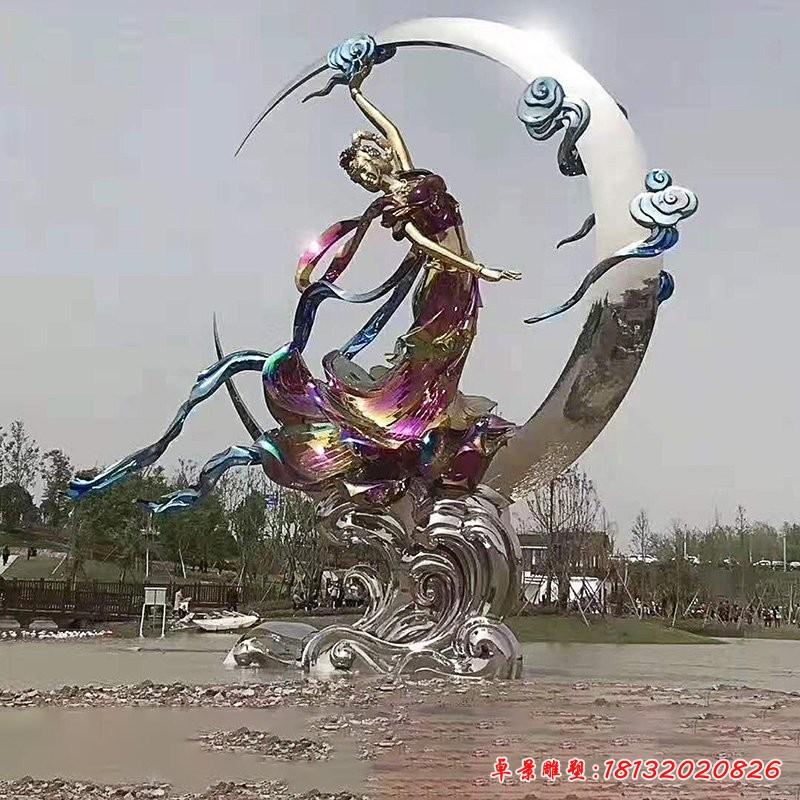 不銹鋼嫦娥奔月雕塑